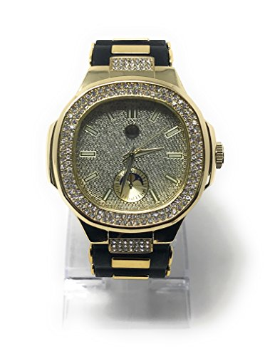 Men's Iced Out Hip Hop Watch with Bullet Band and Simulated Diamond Crystals - Gold/Black