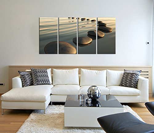 Live Art Decor - Large Zen Canvas Wall Art Basalt Stone at Sunset Relax Picture Spa Living Room Office Wall Decor Peaceful Scenery Artwork Framed Ready to Hang- 64''W x 32''H overall by Live Art Decor (Image #1)