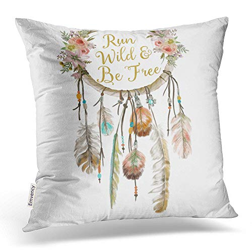 - Accrocn Colorful Vintage Tribal Boho Bright Watercolor Dream Catcher Feather Nursery Polyester 20 x 20 Inch Square Throw Pillow Covers With Hidden Zipper Home Sofa Cushion Decorative Pillowcases
