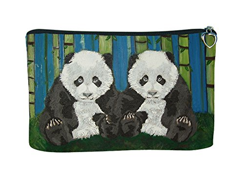 Cosmetic Bag, Zipper Pouch - Zip-top Closer - Taken From My Original Paintings - Animals (Panda Cubs) - Panda Cubs