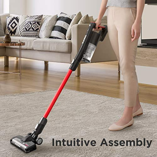 EUREKA Cordless Vacuum Cleaner, Hight Efficiency for All Carpet and Hardwood Floor LED Headlights, Convenient Stick and Handheld Vac, Basic Red