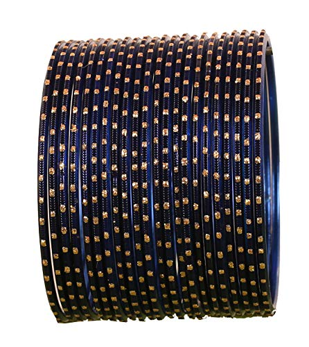 Touchstone New Colorful 2 Dozen Bangle Collection Indian Bollywood Alloy Metal Textured Indigo Blue Designer Jewelry Special Large Size Bangle Bracelets Set of 24 in Antique Gold Tone for Women ()