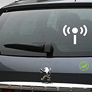 Broadcasting Internet Signal Decal (gloss white, 5 inch) for car truck window suv boat motorcycle and all other auto glass and bumper in gloss vinyl