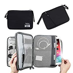 Double Layer Electronic Accessories Organizer, Travel Gadget Bag for Cables, USB Flash Drive, Plug and More, Perfect Size Fits for iPad (L-Black)