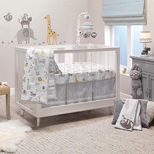 Lambs & Ivy Animal Jungle Cotton Jersey 4-Piece Crib Bedding Set – Multicolor