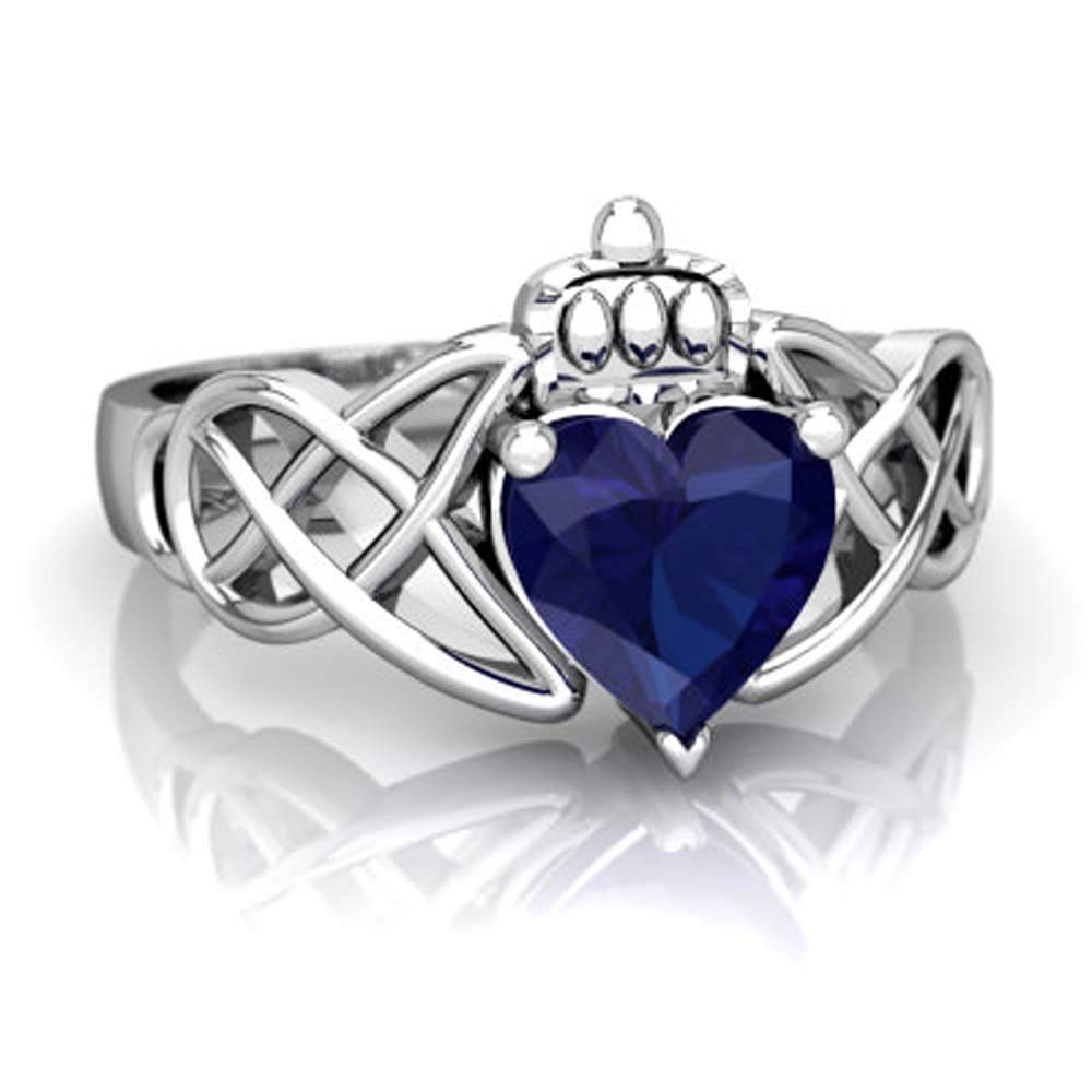 Shinediamond Claddagh Celtic Knot Engagement Ring 0.55 CTW Heart Cut Blue Sapphire 14K White Gold PL LGJ9132