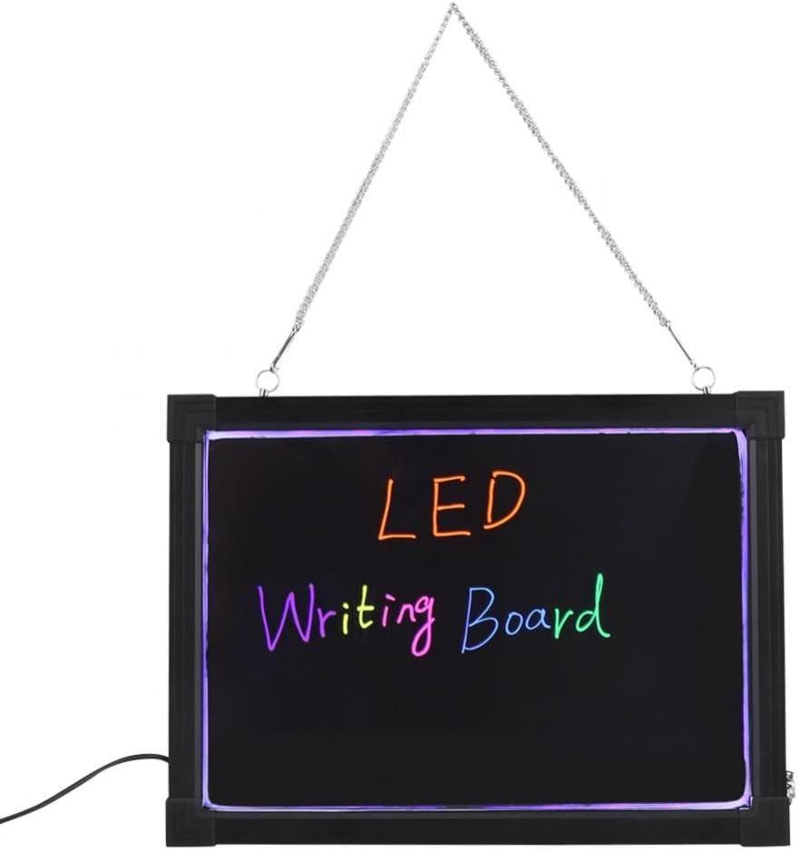 Borrable LED Luz Tablero de Escritura de Muestra Dibujo Mensaje Publicitario con Resaltador 30 x 40cm
