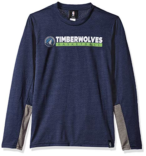 A Youth Boys Minnesota Timberwolves Covert Long Sleeve Performance Tee, Navy, Youth Large(14-16) ()