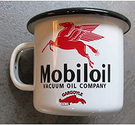 Hotrodspirit - Taza de café esmaltada, diseño de gasolina Mobiloil con pegaso: Amazon.es: Hogar