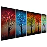 """From Dusk till Dawn - Colorful Tree Metal Wall Art Decor - Large Set of 5 Decorative Panels for Kitchen or Living Room - 64"""" x 24"""""""