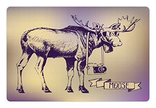 Moose Pet Mats for Food and Water by Ambesonne, Hipster Deer with Shade Sunglasses and Camera Vintage Ombre Design Funny Animal Art, Rectangle Non-Slip Rubber Mat for Dogs and Cats, - Images Shades Glasses