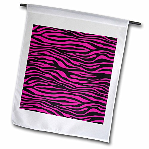 Cassie Peters Animal Print Abstract - Black and Pink Zebra Stripes Abstract - 12 x 18 inch Garden Flag (fl_240295_1) - Peter Abstract Print