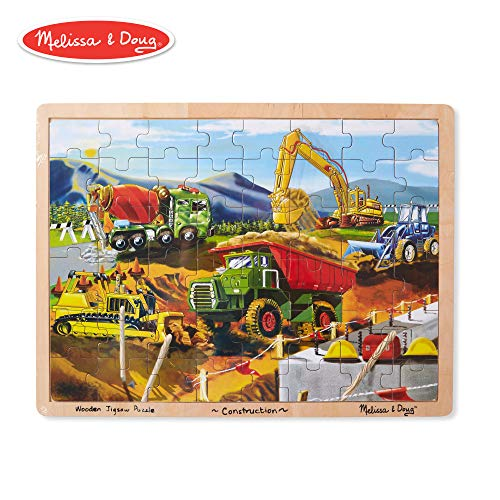 Melissa & Doug Construction Vehicles Building Site Wooden Jigsaw Puzzle (Beautiful Original Artwork, Sturdy Cardboard Pieces, 48 Pieces)