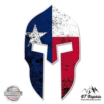 Spartan Helmet Texas Flag - Vinyl Sticker Waterproof Decal