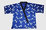 All Blue Bamboo Print Sushi Chef Uniform in Medium