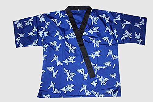 All Blue Bamboo Print Sushi Chef Uniform in Medium by Sunrise Kitchen Supply