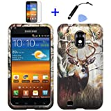 virgin mobile galaxy sii - 4 items Combo: Stylus Pen + Screen Protector Film + Case Opener + Outdoor Wild Deer Tree Camouflage Design Rubberized Snap on Hard Shell Cover Faceplate Skin Phone Case for Sprint Samsung Epic Touch Galaxy SII D710, US Cellular/ Boost Mobile / Virgin Mobile Samsung Galaxy S2 R760