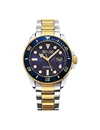 SO&CO New YorkYacht Timer Specialty 23K Gold Plated Two-Tone Mens Stainless Steel Professional Diver Watch