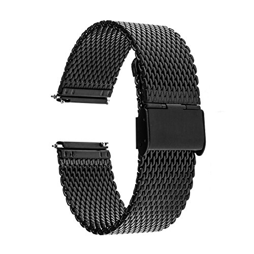 TRUMiRR 22mm Quick Release Watch Band Milanese Stainless Steel Strap for Samsung Gear S3 Classic Frontier,Gear 2 R380 R381 R382, Moto 360 2 46mm, LG G Watch , ASUS Zenwatch 1 2 Men, Pebble Time,Black