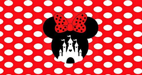 Disney Walt Plate World (Route 66 Puzzles Walt Disney World License Plate Minnie Mouse Red Bow Polka Dots Cinderella Castle Disneyland Mickey Mouse Minnie Mouse Personalized UV Coated)