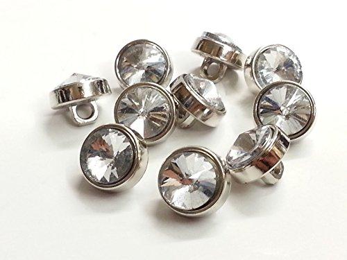 CraftbuddyUS DB9 10 x 12mm Clear Faceted Glass Crystal Diamante Rhinestone Silver (Glass Rhinestone Button)