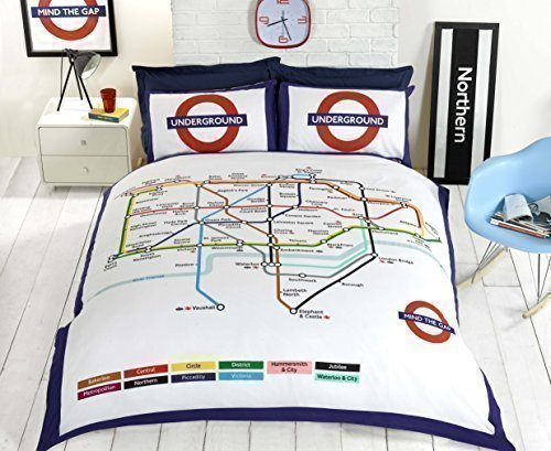 Hallways London Underground Tube Train Map Stations Double Duvet Cover Quilt Set