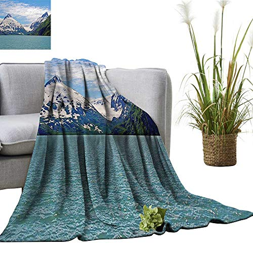 YOYI Polyester Blanket Mounta Lake Anchorage SPR gtime Sunny Day Scenic View Picture White Cozy and Durable 35