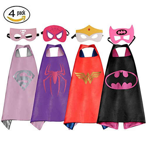 RioRand Comics Cartoon Dress Up Costumes Satin Capes with Felt Masks for girls (Set of (Girl Comic Costumes)