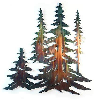 Pine Wall Sculpture - Pine Tree Stand - Large Metal Wall Art Sculpture