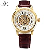 SEWOR Automatic Mechanical Watch Men Top Brand Luxury Golden Dial Leather Band Dress Skeleton Clock