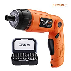 Tacklife SDH13DC Cordless Screwdriver 3.6-Volt 2000mAh MAX Torque 4N.m - 3-Position Rechargeable -- 31 Screwdriver Bits in Case, 4 LED Light, Flashlight, USB Charging for Around House Small Jobs