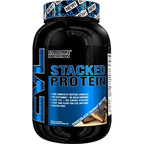 Evlution Nutrition Stacked Protein 2lb Protein Powder With 25 Grams of Protein, 5 Grams of BCAA's and 5 Grams of Glutamine (Chocolate Peanut Butter)