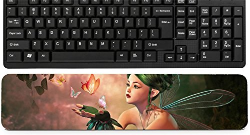 Liili Keyboard Wrist Rest Pad Long Extended Arm Supported Mousepad IMAGE ID: 28921346 3d computer graphics of a fairy and flying butterflies