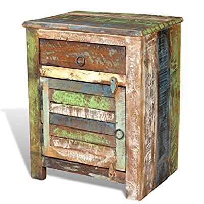 Handmade Rustic Antique Reclaimed Solid Wood Nightstand End Table Bedside Cabinet Bedroom Furniture