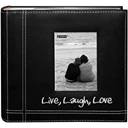 Pioneer Photo Albums Embroidered Live, Laugh, Love Black Sewn Leatherette Frame Cover Album for 4\