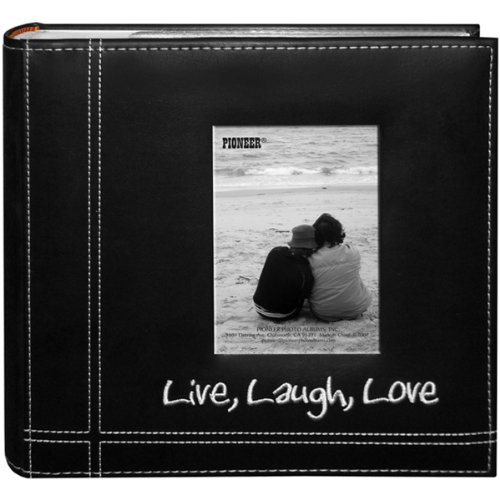 Pioneer Photo Albums Embroidered Live, Laugh, Love Black Sewn Leatherette Frame Cover Album for 4'x6' Prints
