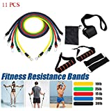 ReallyGO-US Direct Outdoor 11pcs Fitness Resistance Bands, Natural Rubber Latex Exercise Elastic Pull String