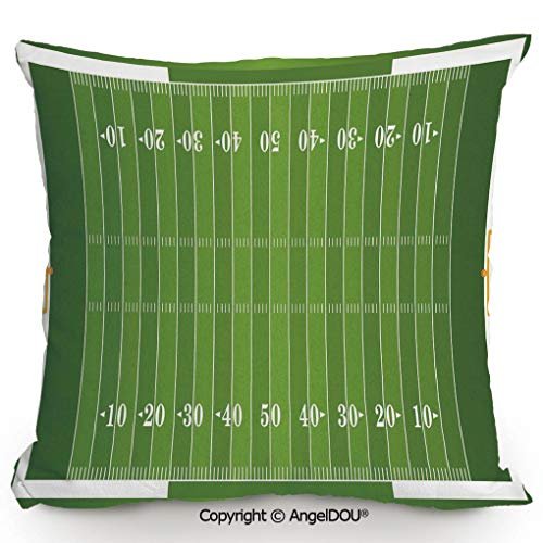 AngelDOU Cotton Linen Square Throw Pillow,Sports Field in Green Gridiron Yard Competitive Games College Teamwork Superbowl,for Bed Living Room Sofa Office Hotel Cafe.13.7x13.7 inches ()