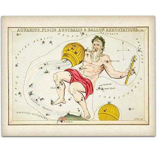 Aquarius Zodiac Antique Constellation Art Print - 11x14 Unframed Art Print - Great Home Decor or Gift Under $15 to Astrology Enthusiasts