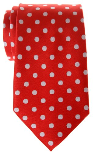 Retreez Classic Polka Dots Woven Microfiber Men's Tie - Red with White Dots ()