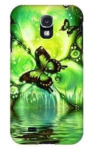 Case Fun Samsung Galaxy S4 (I9500) Case - Vogue Version - 3D Full Wrap - Green Butterfly
