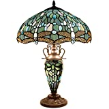 Tiffany Table Lamp 24 Inch Tall 3 Light Pull Chain Sea Blue Stained Glass Dragonfly Style Lampshade Beside Desk Lamp Antique Base for Living Room Coffee Table Bedroom S147 WERFACTORY