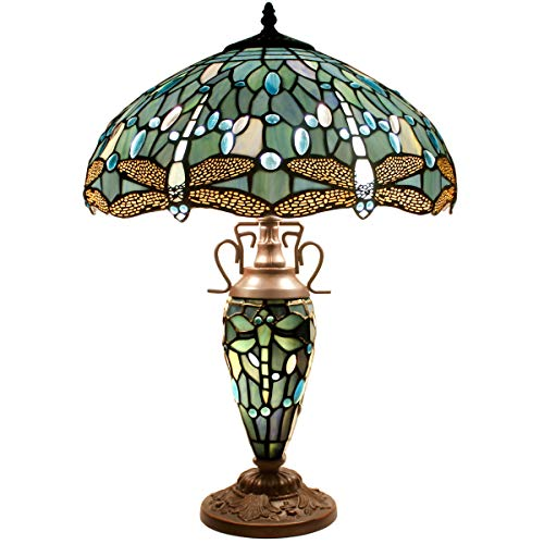 (Tiffany Table Lamp 24 Inch Tall 3 Light Pull Chain Sea Blue Stained Glass Dragonfly Style Lampshade Beside Desk Lamp Antique Night Light Base for Living Room Coffee Table Bedroom S147 WERFACTORY)