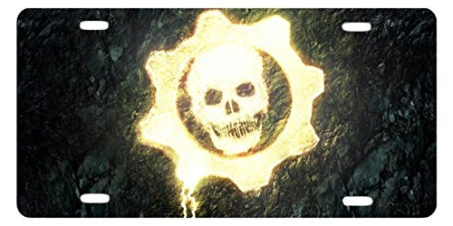 DQVWGK Gears Of War Skull Custom Aluminum License Plate Frames Cover For Car License Plate Cover With 4 Holes Car Tag 6