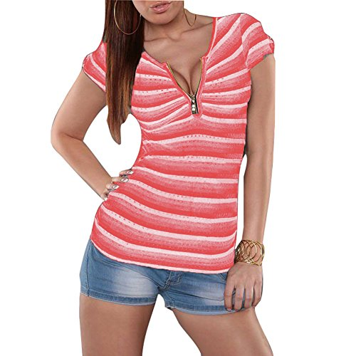 Juleya Confortable 3 Chemise Col Top V Sexy Tops Rayures Shirt Zipper Doux Slim Couleur Fit avec T Profond Femmes Chemises Manches Courtes rY1qxrU