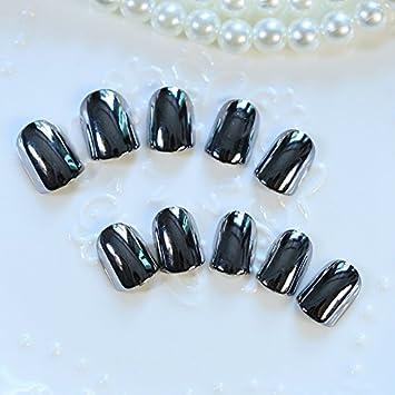 24 uñas postizas negras EchiQ en estilo metal acrílico: Amazon.es: Belleza