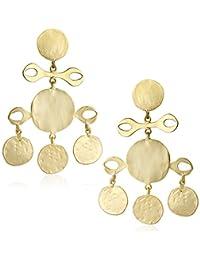 Kenneth Jay Lane Satin Gold Fancy Drop Clip-On Earrings
