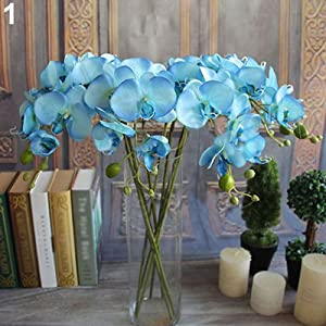 LinSHdi426 Artificial Butterfly Orchid Flower - Artificial Butterfly Orchid Flower 1 Piece Wedding Home Decor Fake Cloth Flower Beautiful Artificial Butterfly Orchid Flower. Blue 76