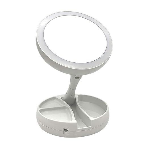 PACELK Espejo Plegable Led con Luz USB de Doble Cara, Espejo de ...