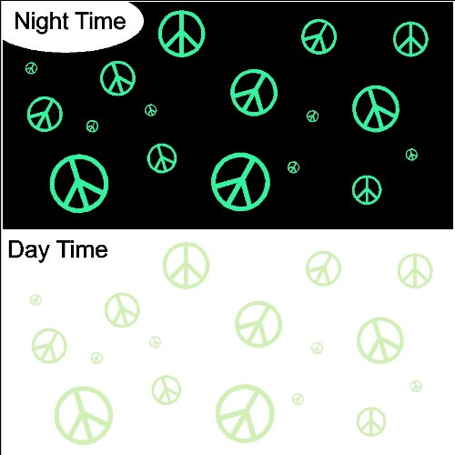 Glow In The Dark Peace Symbols Decals Sticker Removable Wall Art   Wall  Decor Stickers   Amazon.com